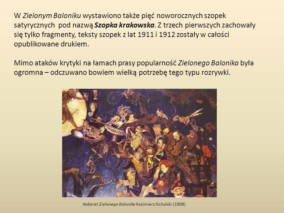 W Zielonym Baloniku wystawiono także pięć noworocznych szopek satyrycznych pod nazwą Szopka krakowska.