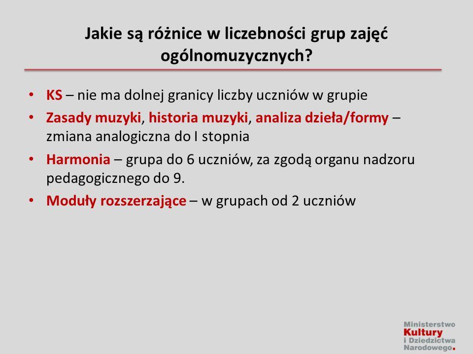 Jakie są różnice w liczebności grup zajęć ogólnomuzycznych.