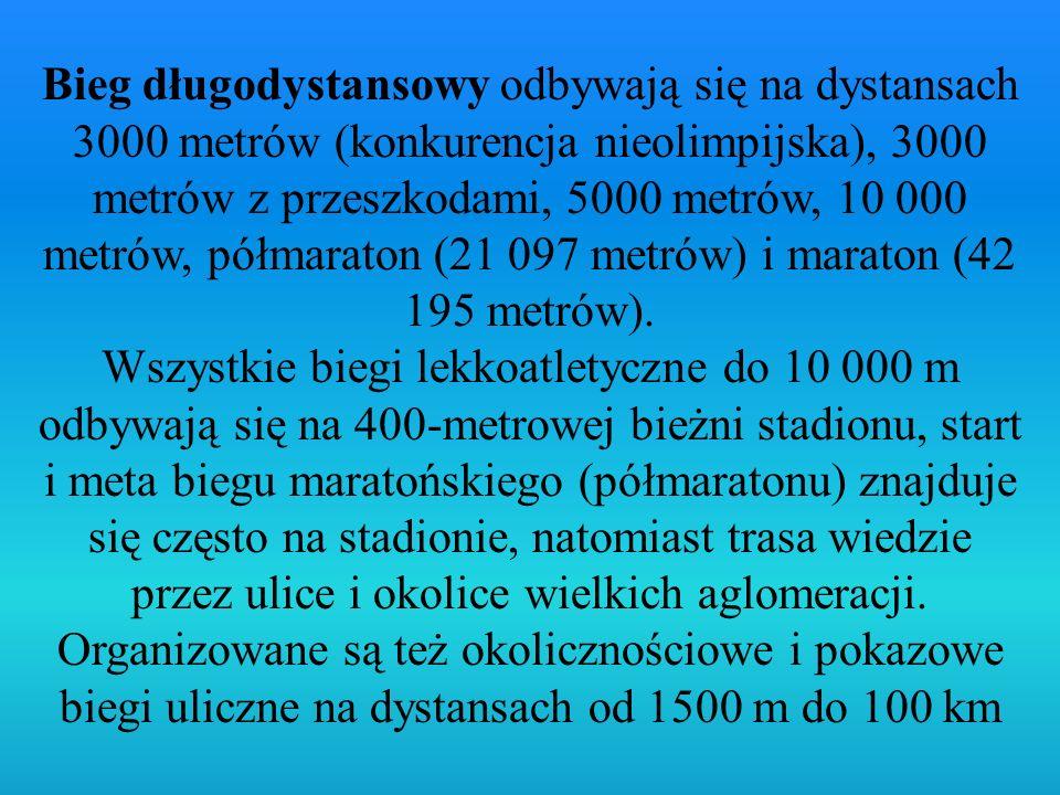Bieg długodystansowy odbywają się na dystansach 3000 metrów (konkurencja nieolimpijska), 3000 metrów z przeszkodami, 5000 metrów, 10 000 metrów, półma