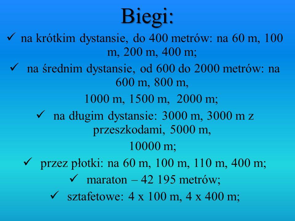 na krótkim dystansie, do 400 metrów: na 60 m, 100 m, 200 m, 400 m; na średnim dystansie, od 600 do 2000 metrów: na 600 m, 800 m, 1000 m, 1500 m, 2000