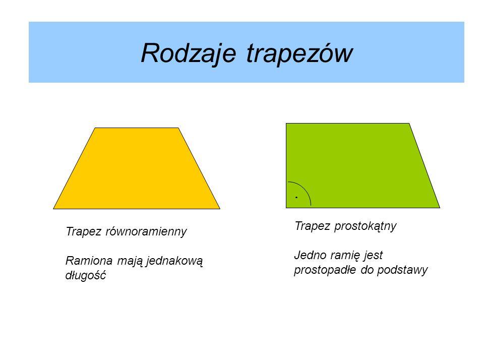 Rodzaje trapezów Trapez równoramienny Ramiona mają jednakową długość Trapez prostokątny Jedno ramię jest prostopadłe do podstawy