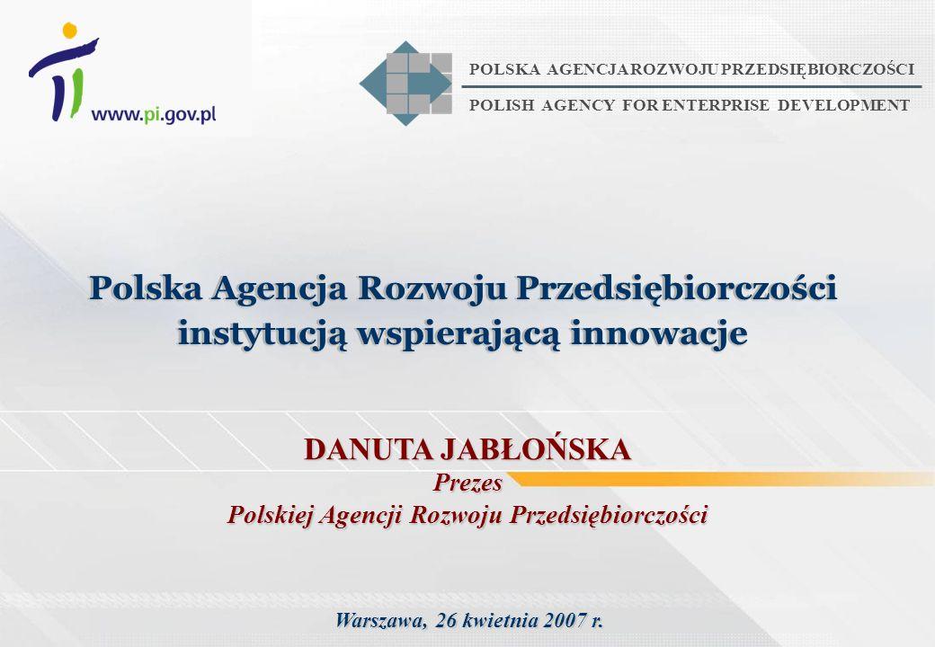 Warszawa, 26 kwietnia 2007 r. Polska Agencja Rozwoju Przedsiębiorczości instytucją wspierającą innowacje Polska Agencja Rozwoju Przedsiębiorczości ins