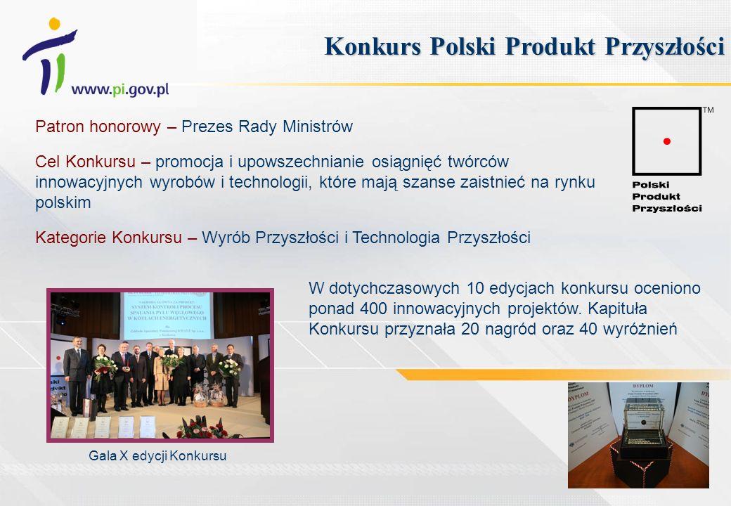 Patron honorowy – Prezes Rady Ministrów Cel Konkursu – promocja i upowszechnianie osiągnięć twórców innowacyjnych wyrobów i technologii, które mają sz