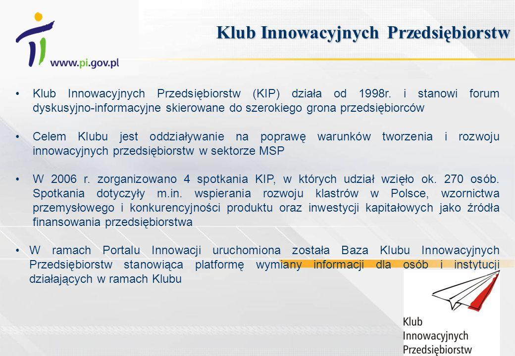 Klub Innowacyjnych Przedsiębiorstw (KIP) działa od 1998r. i stanowi forum dyskusyjno-informacyjne skierowane do szerokiego grona przedsiębiorców Celem