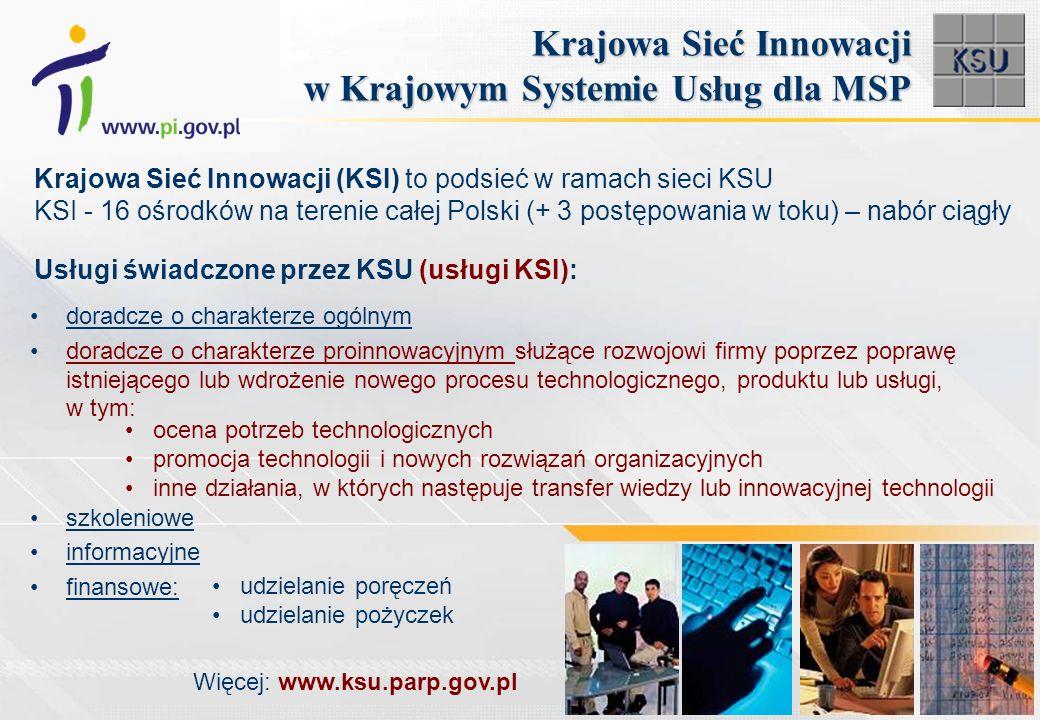 doradcze o charakterze ogólnym doradcze o charakterze proinnowacyjnym służące rozwojowi firmy poprzez poprawę istniejącego lub wdrożenie nowego procesu technologicznego, produktu lub usługi, w tym: szkoleniowe informacyjne finansowe: Krajowa Sieć Innowacji w Krajowym Systemie Usług dla MSP Krajowa Sieć Innowacji (KSI) to podsieć w ramach sieci KSU KSI - 16 ośrodków na terenie całej Polski (+ 3 postępowania w toku) – nabór ciągły udzielanie poręczeń udzielanie pożyczek Usługi świadczone przez KSU (usługi KSI): ocena potrzeb technologicznych promocja technologii i nowych rozwiązań organizacyjnych inne działania, w których następuje transfer wiedzy lub innowacyjnej technologii Więcej: www.ksu.parp.gov.pl
