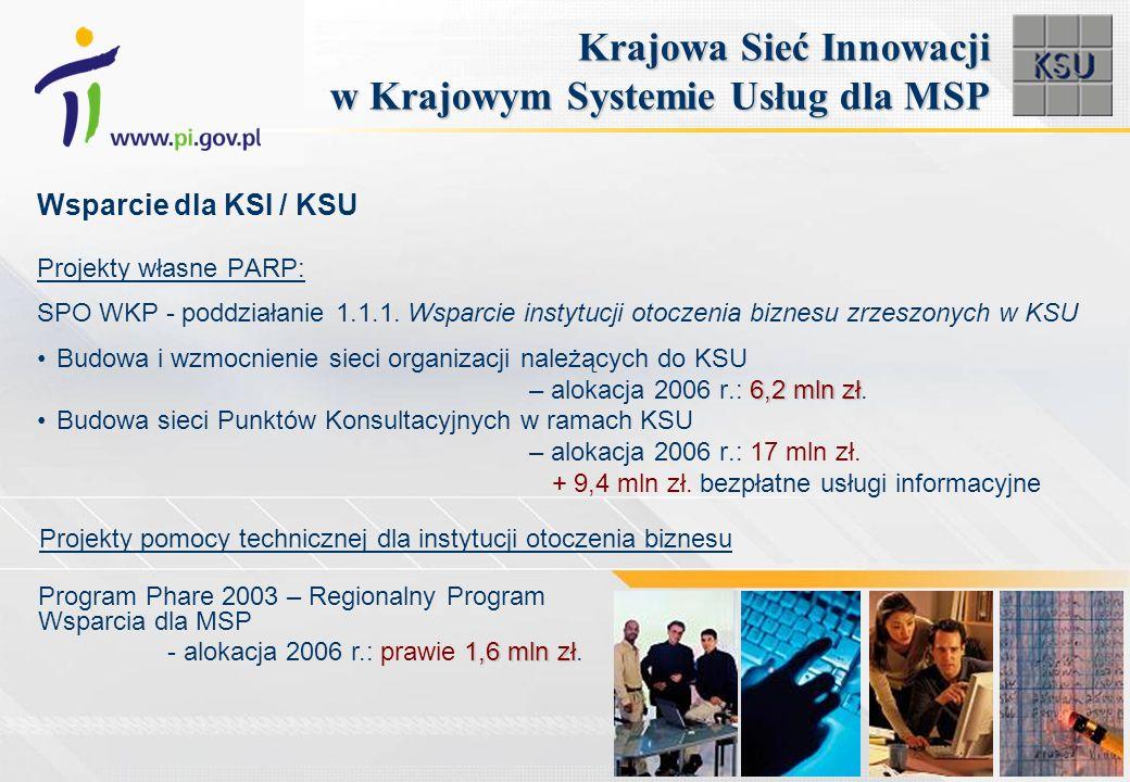 Projekty własne PARP: SPO WKP - poddziałanie 1.1.1. Wsparcie instytucji otoczenia biznesu zrzeszonych w KSU Budowa i wzmocnienie sieci organizacji nal