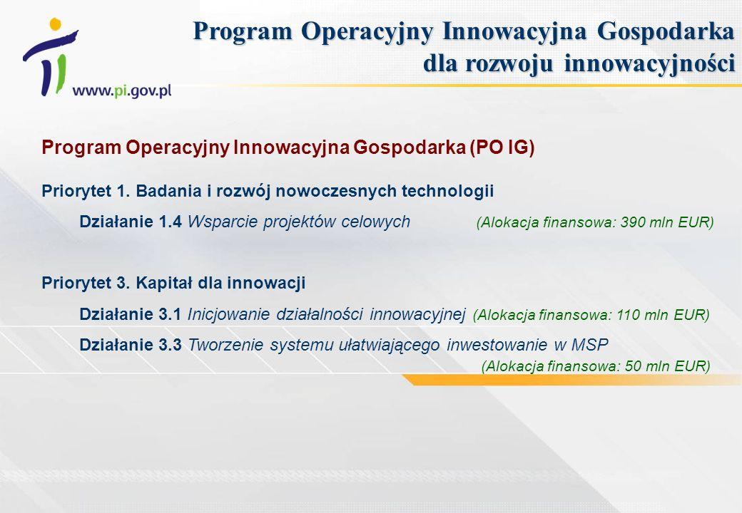 Program Operacyjny Innowacyjna Gospodarka (PO IG) Priorytet 1. Badania i rozwój nowoczesnych technologii Działanie 1.4 Wsparcie projektów celowych (Al