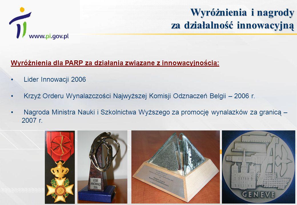 Wyróżnienia dla PARP za działania związane z innowacyjnością: Lider Innowacji 2006 Krzyż Orderu Wynalazczości Najwyższej Komisji Odznaczeń Belgii – 20