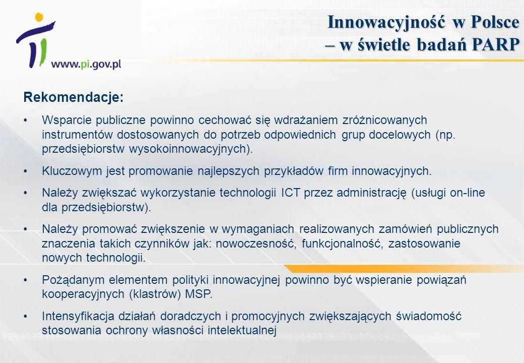 Rekomendacje: Wsparcie publiczne powinno cechować się wdrażaniem zróżnicowanych instrumentów dostosowanych do potrzeb odpowiednich grup docelowych (np