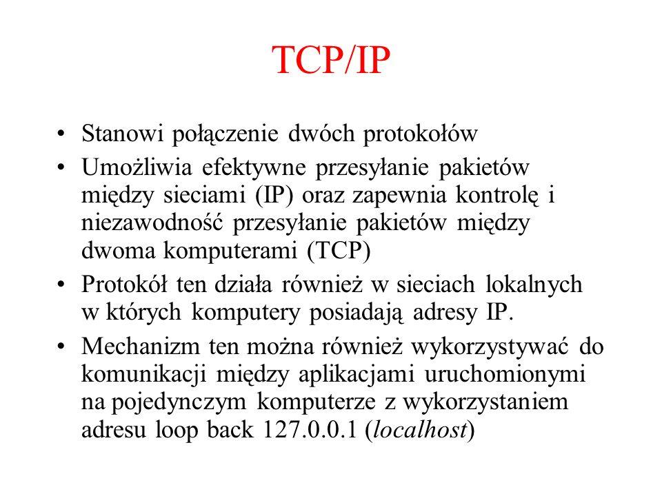 TCP/IP Stanowi połączenie dwóch protokołów Umożliwia efektywne przesyłanie pakietów między sieciami (IP) oraz zapewnia kontrolę i niezawodność przesył