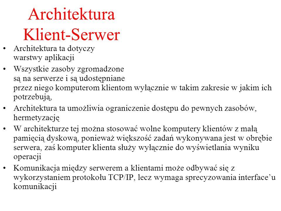 Architektura Klient-Serwer Architektura ta dotyczy warstwy aplikacji Wszystkie zasoby zgromadzone są na serwerze i są udostępniane przez niego kompute