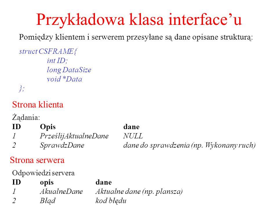 Przykładowa klasa interfaceu Strona klienta Strona serwera Żądania: IDOpisdane 1PrześlijAktualneDaneNULL 2SprawdzDanedane do sprawdzenia (np. Wykonany