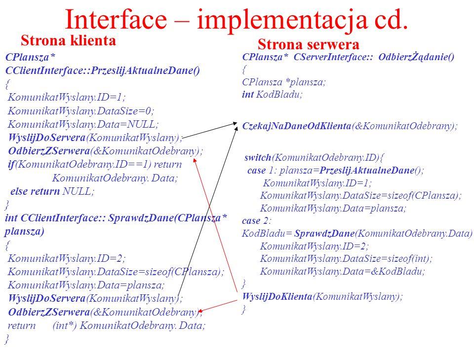 Interface – implementacja cd. Strona klienta Strona serwera CPlansza* CClientInterface::PrzeslijAktualneDane() { KomunikatWyslany.ID=1; KomunikatWysla