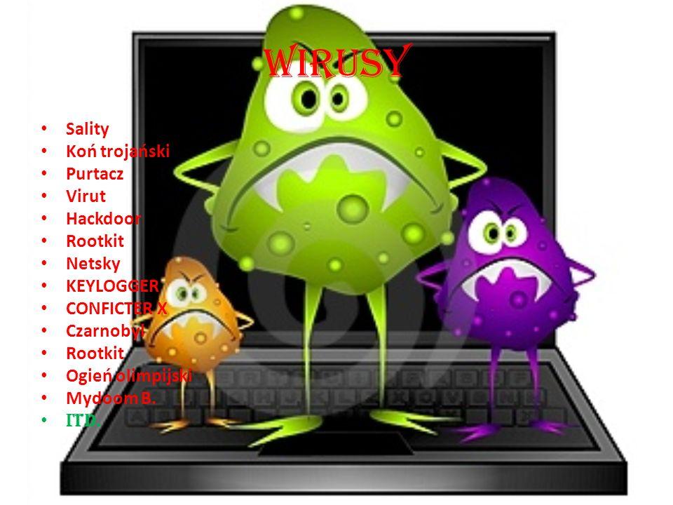 Wirusy Sality Koń trojański Purtacz Virut Hackdoor Rootkit Netsky KEYLOGGER CONFICTER X Czarnobyl Rootkit Ogień olimpijski Mydoom B. Itd.