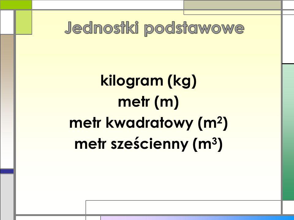 kg: m 2 : - tona (t) - dekagram (dag) - dm 2 - gram (g) - cm 2 - miligram (mg) - mm 2 m: m 3 : - kilometr (km) - km 3 - decymetr (dm) - dm 3 - centymetr (cm) - cm 3 - milimetr (mm) - mm 3