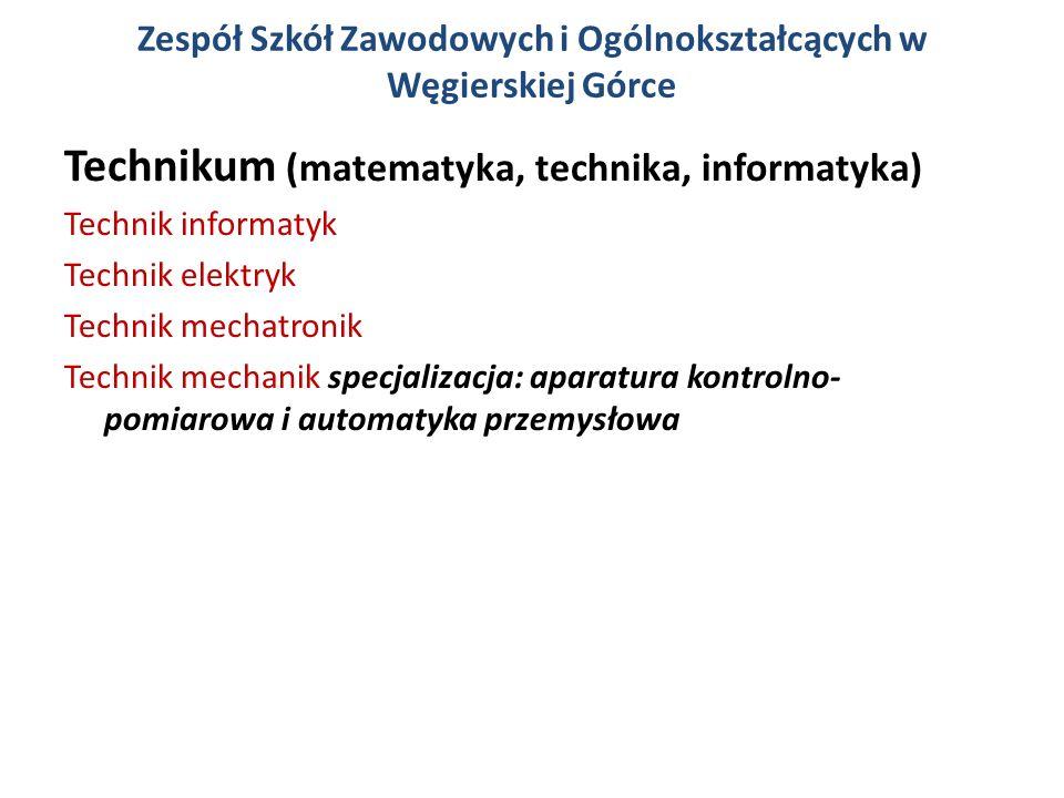 Zespół Szkół Zawodowych i Ogólnokształcących w Węgierskiej Górce Technikum (matematyka, technika, informatyka) Technik informatyk Technik elektryk Technik mechatronik Technik mechanik specjalizacja: aparatura kontrolno- pomiarowa i automatyka przemysłowa