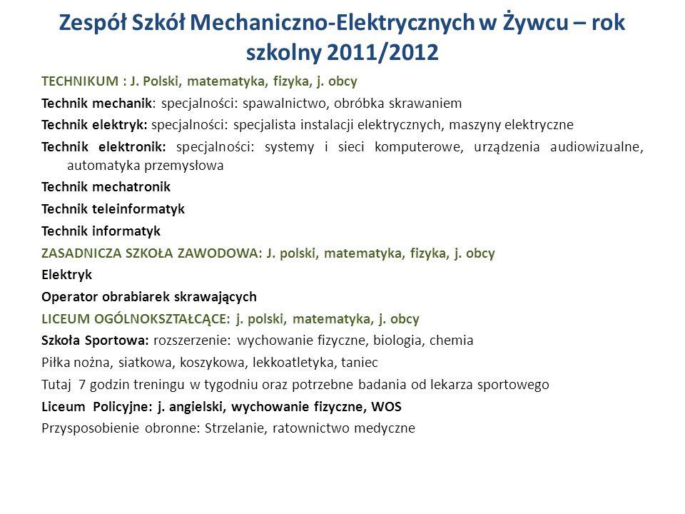 Zespół Szkół Mechaniczno-Elektrycznych w Żywcu – rok szkolny 2011/2012 TECHNIKUM : J.
