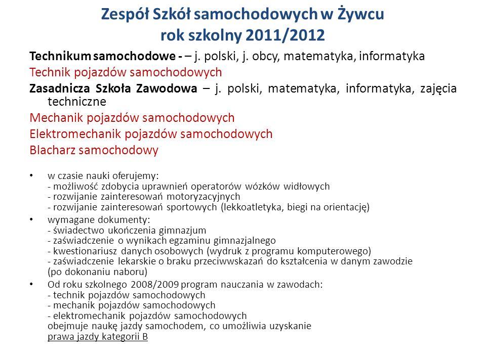 Zespół Szkół samochodowych w Żywcu rok szkolny 2011/2012 Technikum samochodowe - – j.