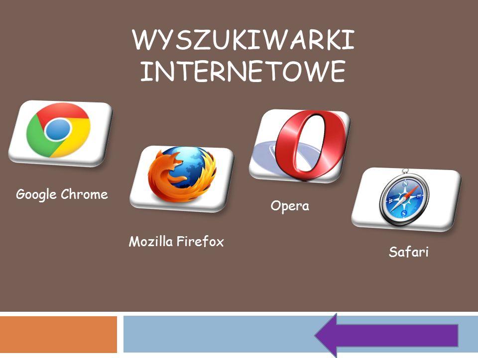 WYSZUKIWARKI INTERNETOWE Google Chrome Mozilla Firefox Opera Safari