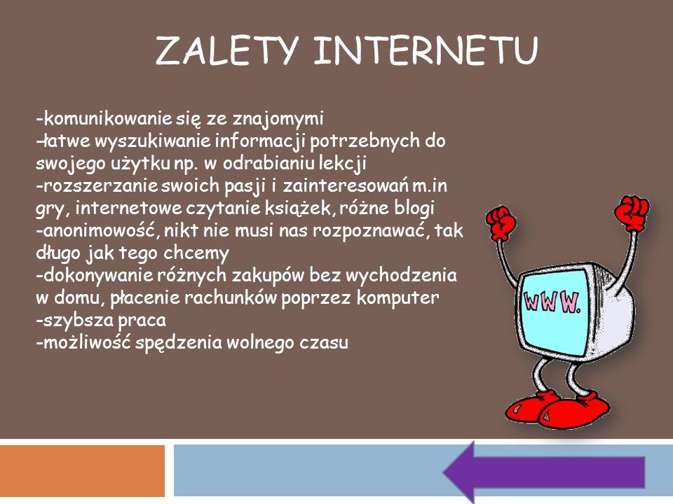 ZALETY INTERNETU -komunikowanie się ze znajomymi -łatwe wyszukiwanie informacji potrzebnych do swojego użytku np. w odrabianiu lekcji -rozszerzanie sw