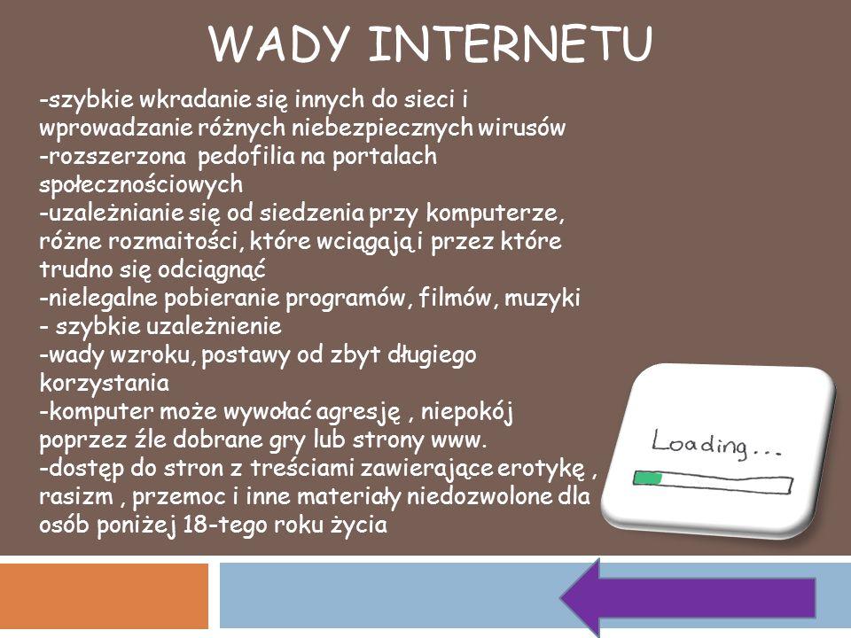 WADY INTERNETU -szybkie wkradanie się innych do sieci i wprowadzanie różnych niebezpiecznych wirusów -rozszerzona pedofilia na portalach społecznościo