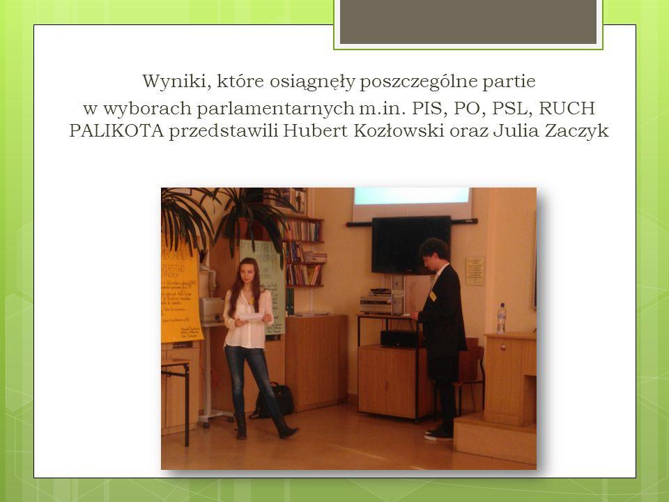 Wyniki, które osiągnęły poszczególne partie w wyborach parlamentarnych m.in.