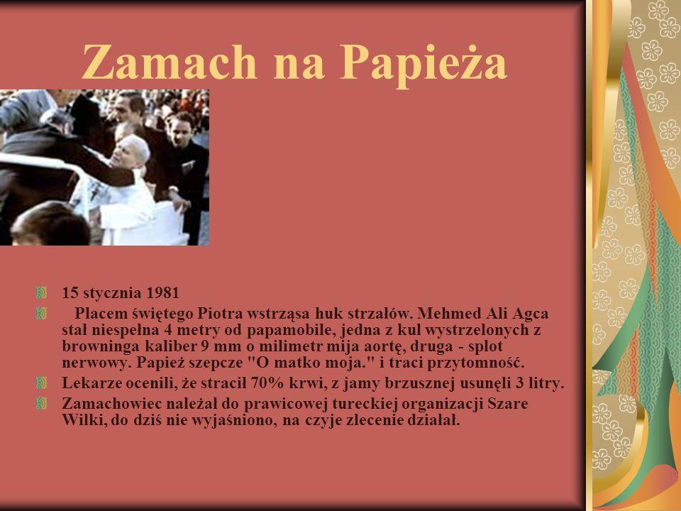 Zamach na Papieża 15 stycznia 1981 Placem świętego Piotra wstrząsa huk strzałów. Mehmed Ali Agca stał niespełna 4 metry od papamobile, jedna z kul wys