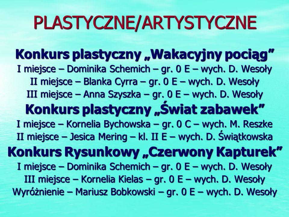 PLASTYCZNE/ARTYSTYCZNE Konkurs plastyczny Wakacyjny pociąg I miejsce – Dominika Schemich – gr. 0 E – wych. D. Wesoły II miejsce – Blanka Cyrra – gr. 0