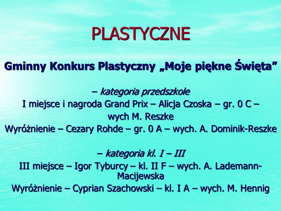PLASTYCZNE Gminny Konkurs Plastyczny Moje piękne Święta – kategoria przedszkole I miejsce i nagroda Grand Prix – Alicja Czoska – gr. 0 C – wych M. Res