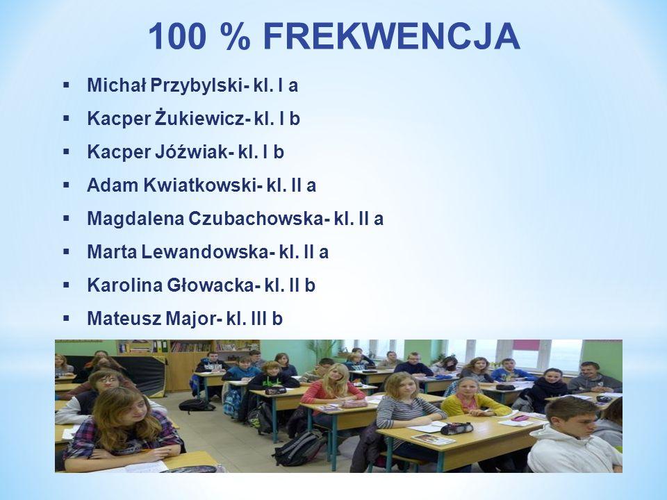100 % FREKWENCJA Michał Przybylski- kl. I a Kacper Żukiewicz- kl. I b Kacper Jóźwiak- kl. I b Adam Kwiatkowski- kl. II a Magdalena Czubachowska- kl. I