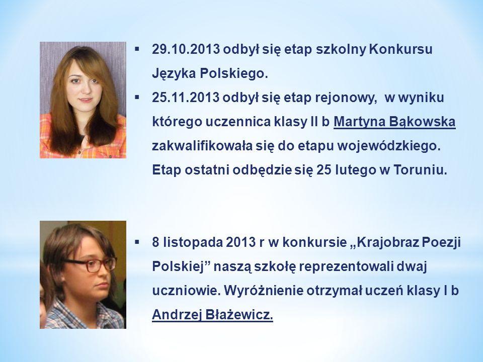 29.10.2013 odbył się etap szkolny Konkursu Języka Polskiego. 25.11.2013 odbył się etap rejonowy, w wyniku którego uczennica klasy II b Martyna Bąkowsk