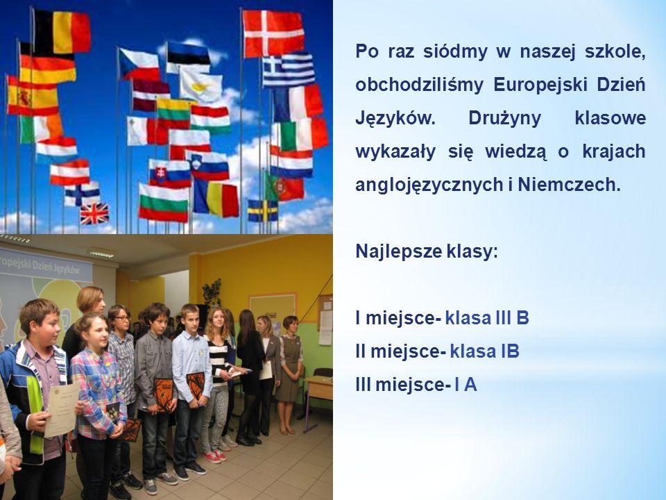 Po raz siódmy w naszej szkole, obchodziliśmy Europejski Dzień Języków. Drużyny klasowe wykazały się wiedzą o krajach anglojęzycznych i Niemczech. Najl