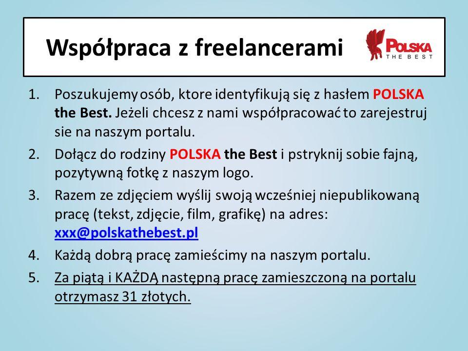 1.Poszukujemy osób, ktore identyfikują się z hasłem POLSKA the Best. Jeżeli chcesz z nami współpracować to zarejestruj sie na naszym portalu. 2.Dołącz