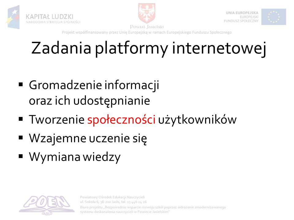 Zadania platformy internetowej Gromadzenie informacji oraz ich udostępnianie Tworzenie społeczności użytkowników Wzajemne uczenie się Wymiana wiedzy