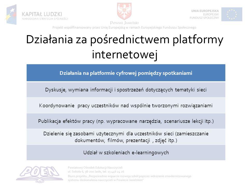 Działania za pośrednictwem platformy internetowej Działania na platformie cyfrowej pomiędzy spotkaniami Dyskusje, wymiana informacji i spostrzeżeń dotyczących tematyki sieci Koordynowanie pracy uczestników nad wspólnie tworzonymi rozwiązaniami Publikacja efektów pracy (np.