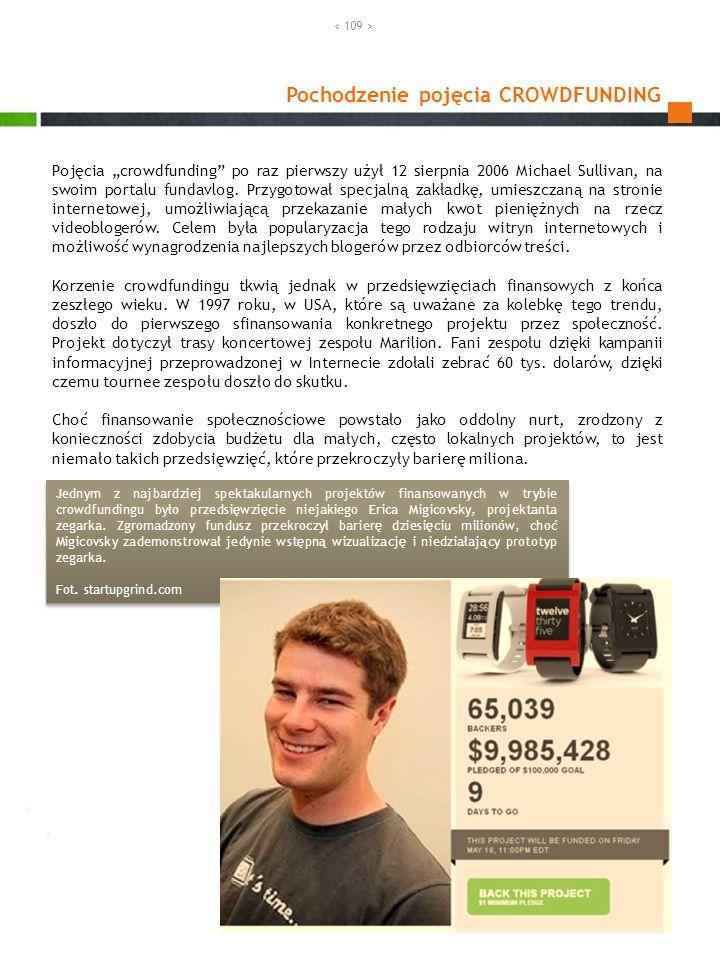 Pochodzenie pojęcia CROWDFUNDING Pojęcia crowdfunding po raz pierwszy użył 12 sierpnia 2006 Michael Sullivan, na swoim portalu fundavlog. Przygotował