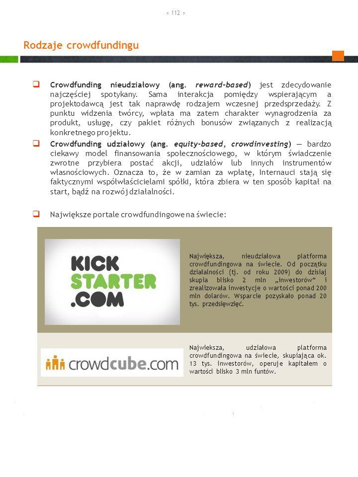 Crowdfunding nieudziałowy (ang. reward-based) jest zdecydowanie najczęściej spotykany. Sama interakcja pomiędzy wspierającym a projektodawcą jest tak