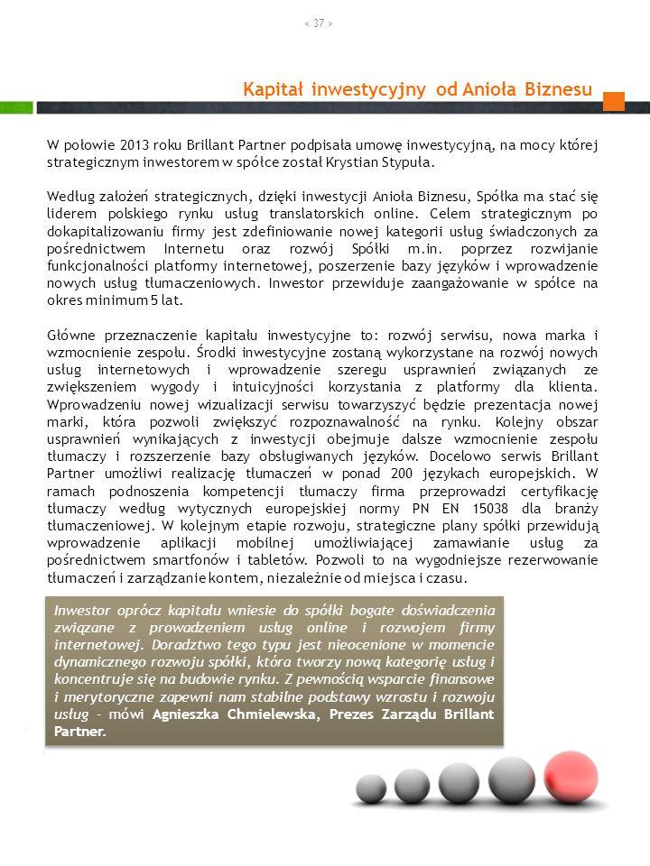Kapitał inwestycyjny od Anioła Biznesu W połowie 2013 roku Brillant Partner podpisała umowę inwestycyjną, na mocy której strategicznym inwestorem w sp