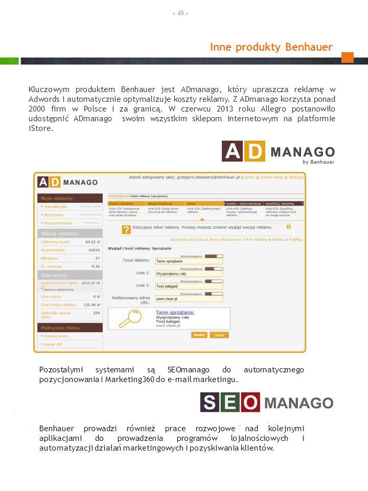 Kluczowym produktem Benhauer jest ADmanago, który upraszcza reklamę w Adwords i automatycznie optymalizuje koszty reklamy. Z ADmanago korzysta ponad 2