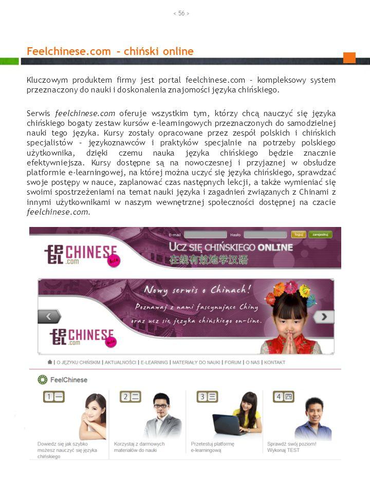 Kluczowym produktem firmy jest portal feelchinese.com – kompleksowy system przeznaczony do nauki i doskonalenia znajomości języka chińskiego. Serwis f