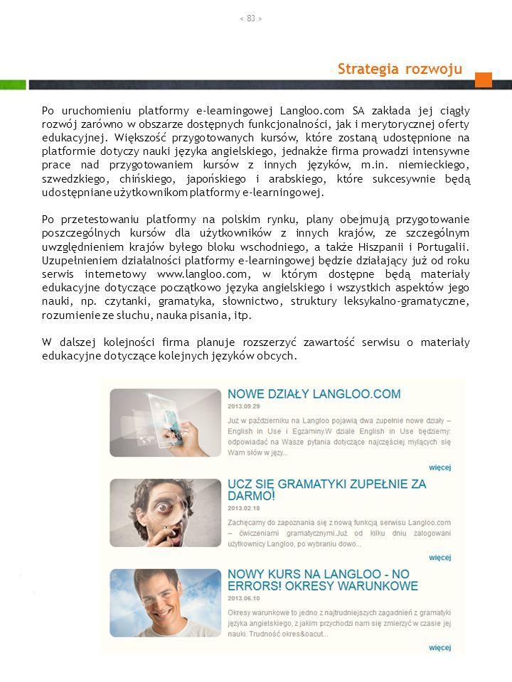 Strategia rozwoju Po uruchomieniu platformy e-learningowej Langloo.com SA zakłada jej ciągły rozwój zarówno w obszarze dostępnych funkcjonalności, jak