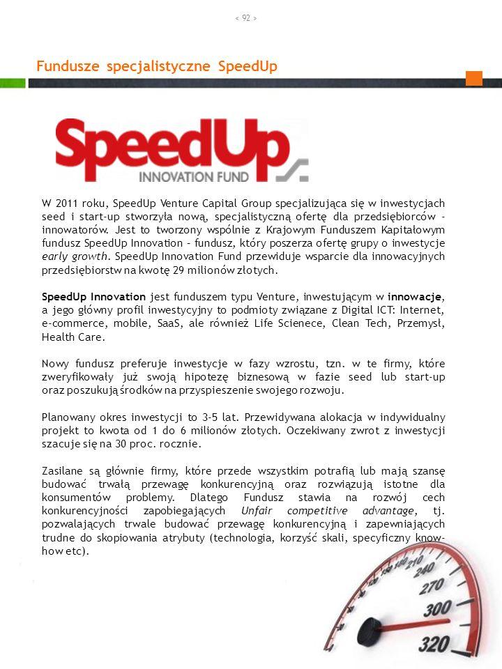 Fundusze specjalistyczne SpeedUp W 2011 roku, SpeedUp Venture Capital Group specjalizująca się w inwestycjach seed i start-up stworzyła nową, specjali