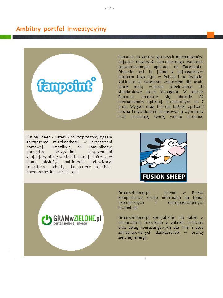 Ambitny portfel inwestycyjny Fanpoint to zestaw gotowych mechanizmów, dających możliwość samodzielnego tworzenia zaawansowanych aplikacji na Facebooku