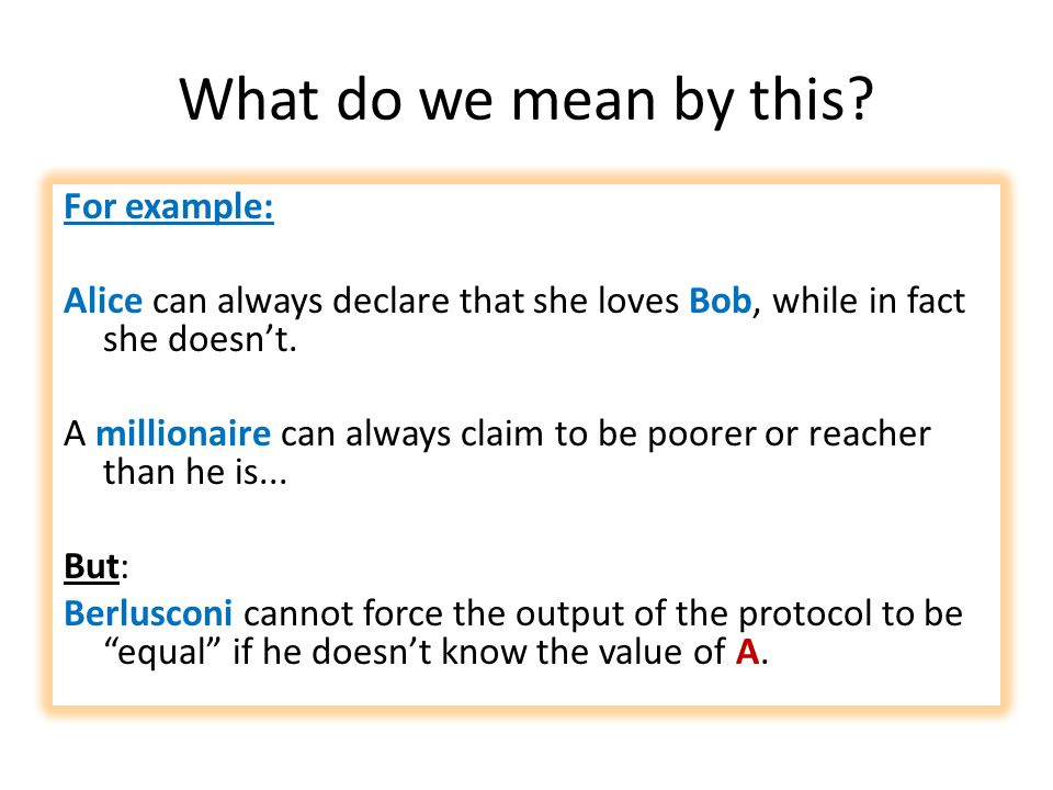 What do we mean by this? For example: Alice can always declare that she loves Bob, while in fact she doesnt. A millionaire can always claim to be poor
