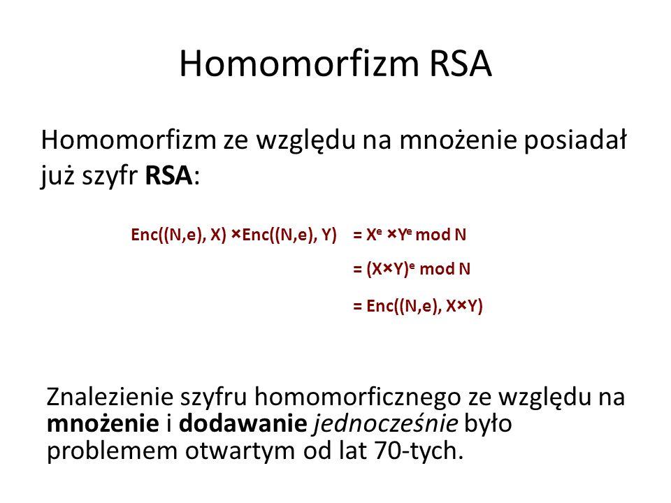 Homomorfizm RSA Homomorfizm ze względu na mnożenie posiadał już szyfr RSA: Enc((N,e), X) × Enc((N,e), Y)= X e × Y e mod N = (X × Y) e mod N = Enc((N,e