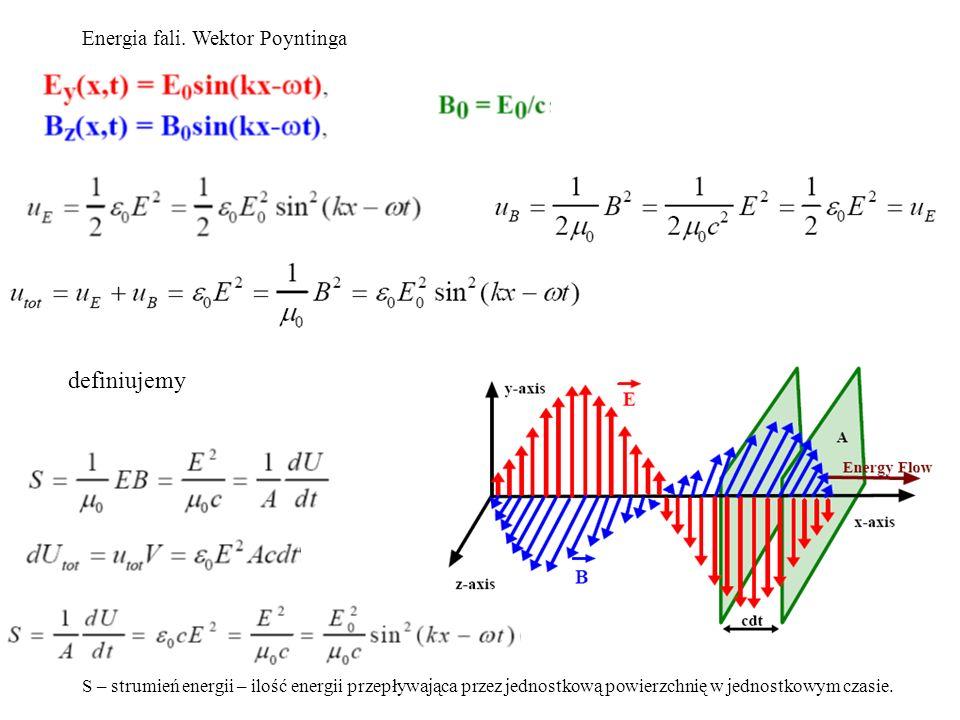 Energia fali. Wektor Poyntinga S – strumień energii – ilość energii przepływająca przez jednostkową powierzchnię w jednostkowym czasie. definiujemy