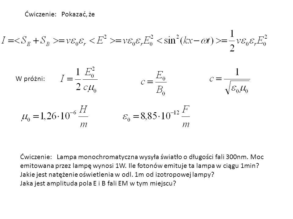 Ćwiczenie: Jaką długość fali ma emitowane promieniowanie przy przejściu elektronu w atomie wodoru z orbity n=4 do n=2.