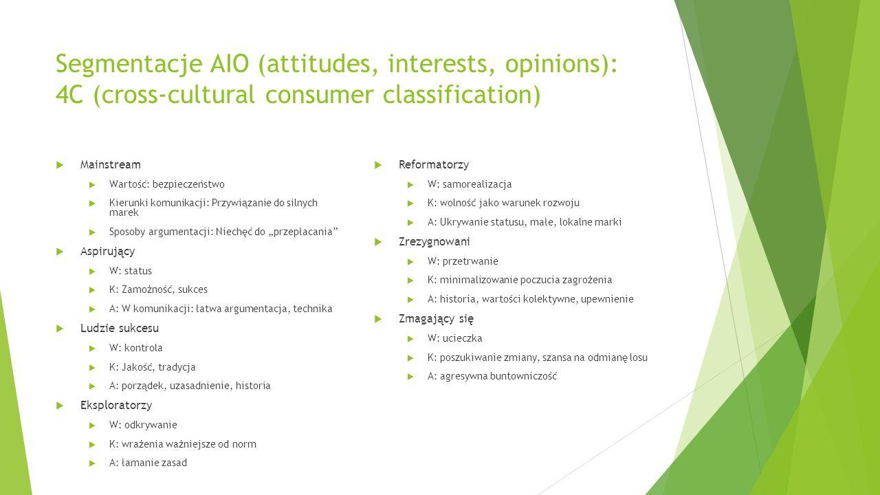 Segmentacje AIO (attitudes, interests, opinions): 4C (cross-cultural consumer classification) Mainstream Wartość: bezpieczeństwo Kierunki komunikacji: