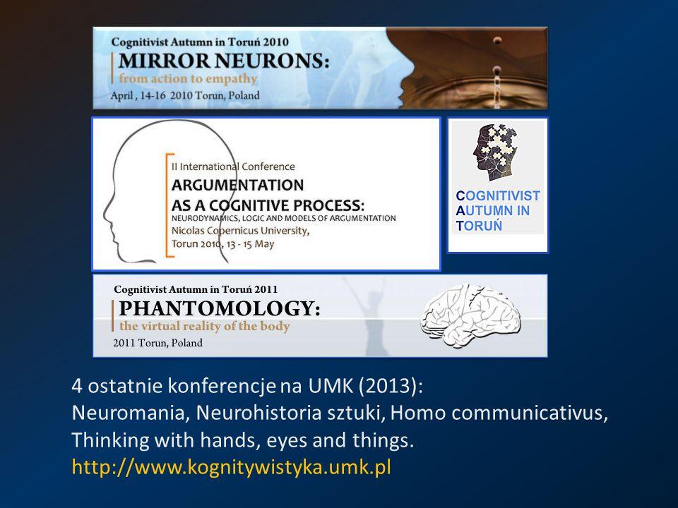 4 ostatnie konferencje na UMK (2013): Neuromania, Neurohistoria sztuki, Homo communicativus, Thinking with hands, eyes and things. http://www.kognityw