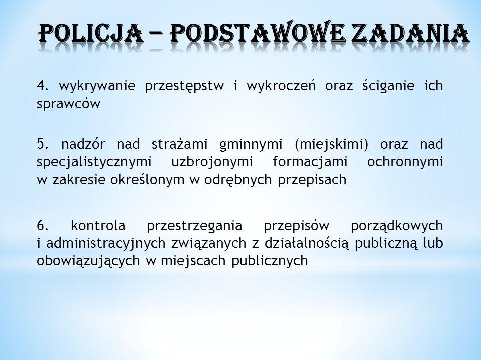 4. wykrywanie przestępstw i wykroczeń oraz ściganie ich sprawców 5. nadzór nad strażami gminnymi (miejskimi) oraz nad specjalistycznymi uzbrojonymi fo